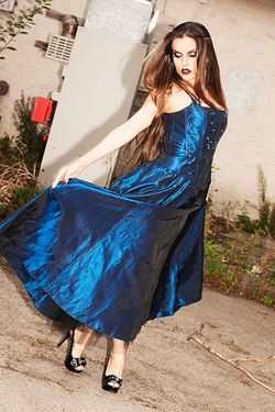 SMhargerita in a Satin Blue Evening Gown Look book shoot