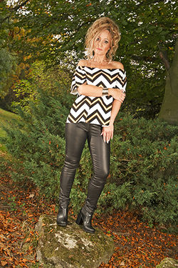 Stripey Blouse and Black Leather Trousers