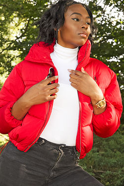 Red Puffa Jacket Watch and Shades