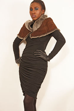 Black Cotton Dress with Brown Faux