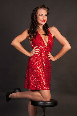 SPARKLY RED DRESS MS BETSY LA BON