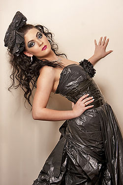 Victoria wearing a Dress made from a Black Bin Liner Make Up by Roobia