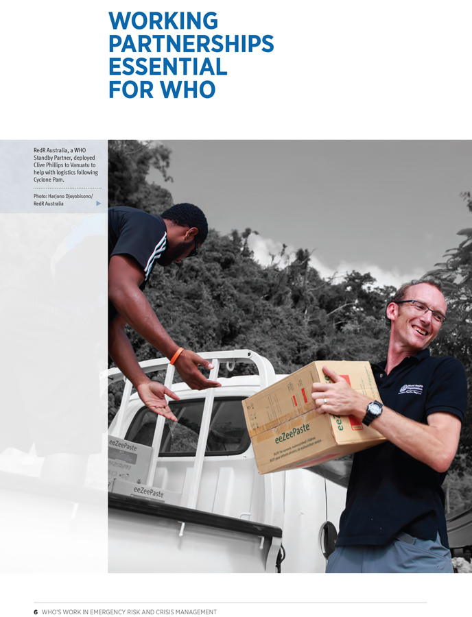 2015 Report WHO's Work in Emergency Risk and Crisis Management