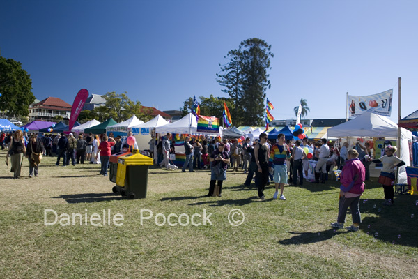 Attendees at the 2010 Brisbane Pride Fair Day browse the various stalls and information booths.