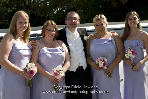 GROOM AND BRIDESMAIDS  AT RECEPTION