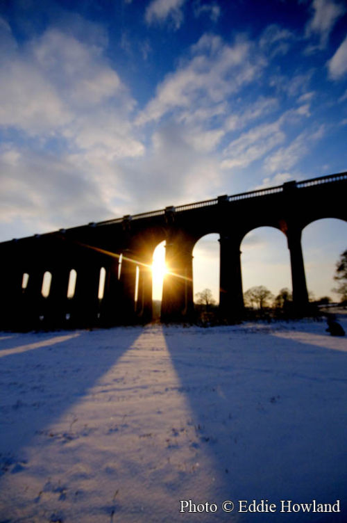 Balcombe Viaduct at Sunset in the snow Dec 09