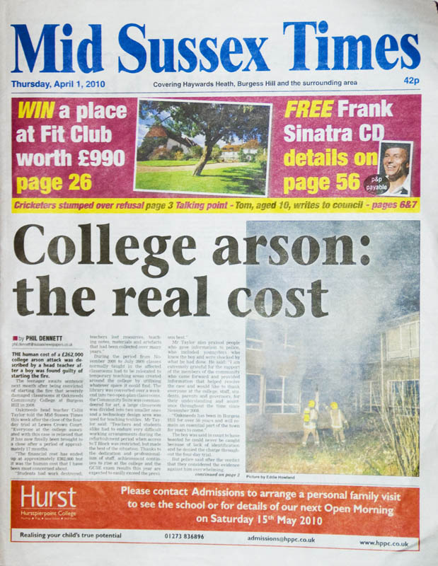 Front page Mid Sussex Times 1st April 2010