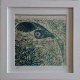 Framed lino owl