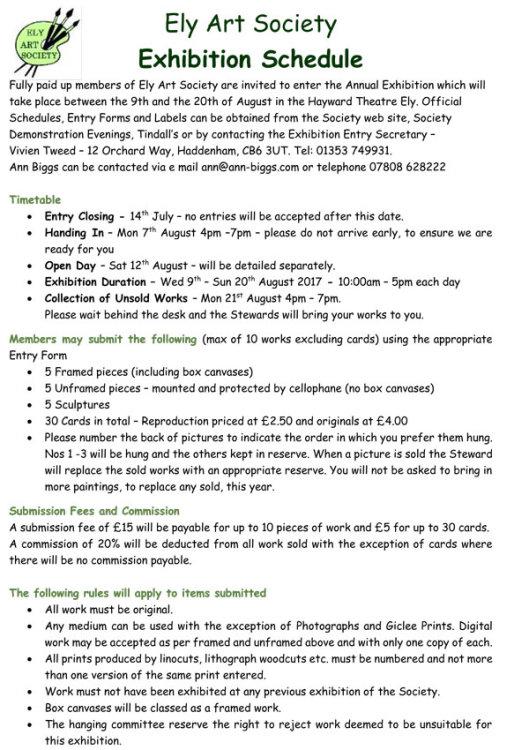 Exhibition Schedule Page 1