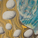 Marbled panel detail; pebbles