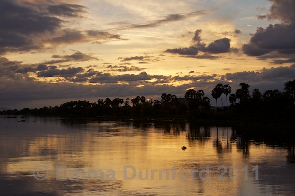 Sunset on the Tonle Sap river