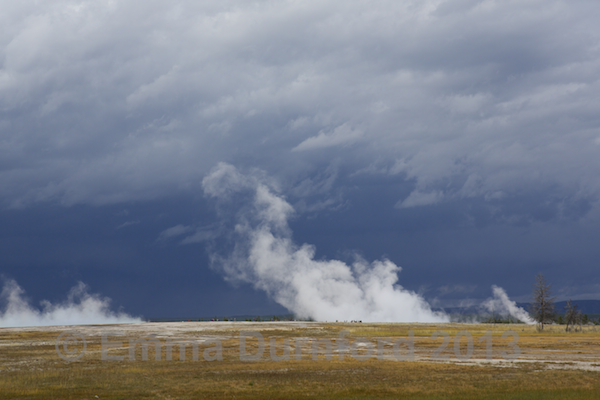 Storm approaching Grand Prismatic Spring