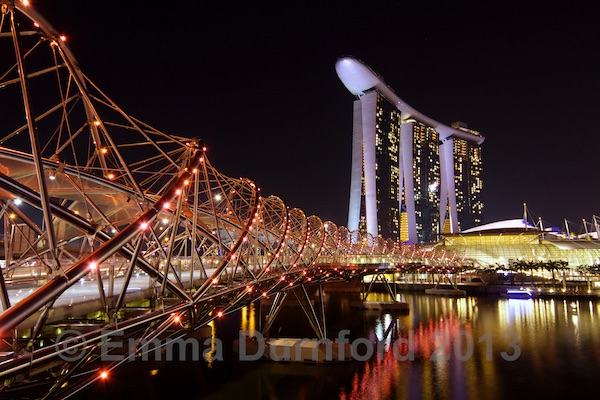 Marina Bay Sands Hotel and the Helix bridge