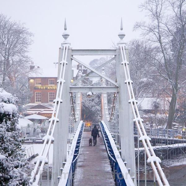 Teddington Footbridge and the Anglers pub in Winter