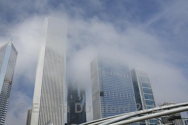 Skyscrapers on East Randolph Street in fog