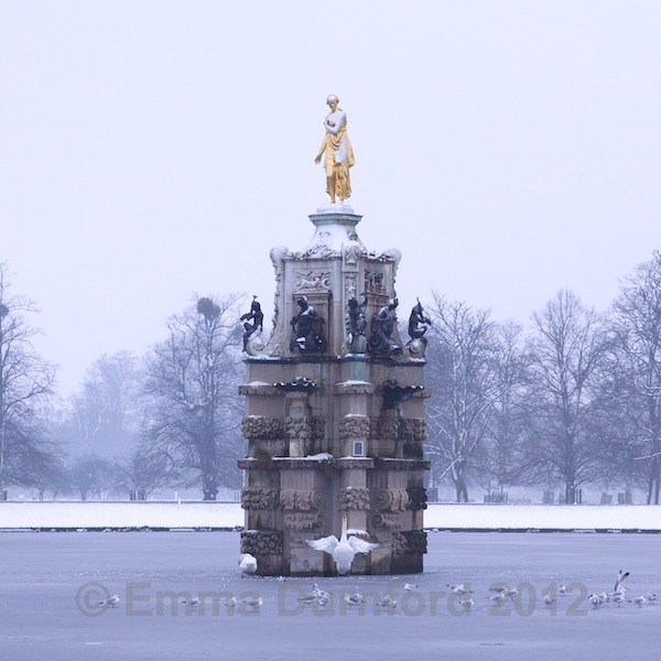 Diana Fountain in the snow