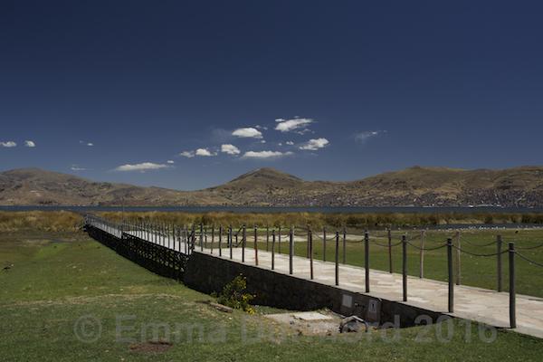 Lake Titicaca and footbridge