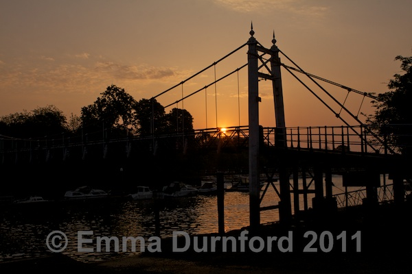 Sunrise over Teddington Footbridge and Weir
