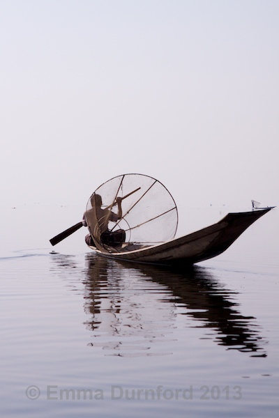 Fisherman with fish basket