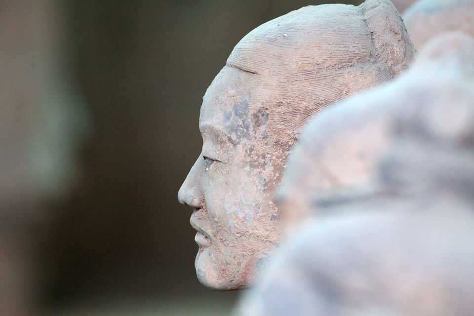 Detail of a terracotta soldiers face. Canon 50D, Canon EF 400mm f/5.6 L USM, 1/80, f/5.6, iso 1600, handhold.