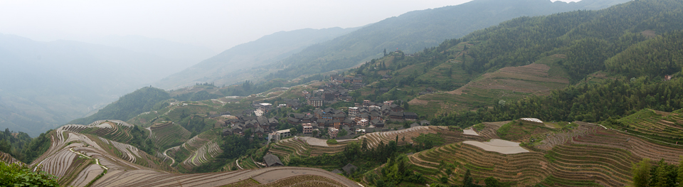 Panoramic overview of Ping An rice terraces. Canon 50D, Canon EF 400mm f/5.6 L USM, 1/200, f/10, iso 100, handhold, stitched image.
