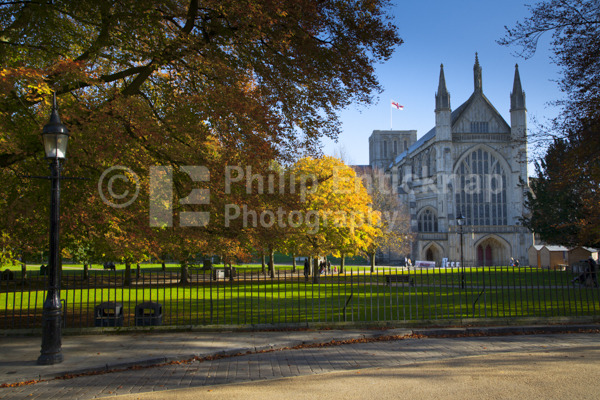 Winchester Cathedral in Autumn.Hampshire,England.