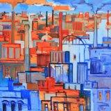 oranje blauwe stad