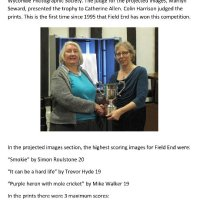FEPS WINS THE NORTH WEST FEDERATION OF LONDON CAMERA CLUBS  TROPHY 2016