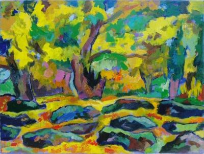 'Autumn Foliage and Rocks.'<br>