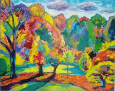 'Autumn, Late Afternoon, 2.'<br> Oil and acrylic on canvas, 2008<br> 61cm x 45cm