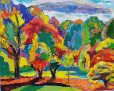 Autumn, Late Afternoon.<br> Oil and Acrylic on canvas, 2008<br> 45cm x 60cm