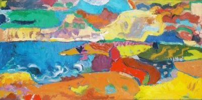 Coastal Landscape<br> Oil and Acrylic on canvas<br> 112cm x 56cm