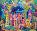 'Conversations in the Baths, 1' Oil on board 60cm x 45cm