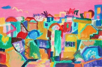 Nicosia, Evening from my flat.'<br> Oil and acrylic on board, 2007