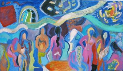 Fiona and Women in the Turkish Baths.<br> Acrylic on canvas<br> 140cm x 80cm
