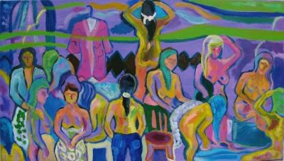 'Fiona in Blue Jeans in the Turkish Baths.'<br> Oil and acrylic on canvas, 2009<br> 95cm x 54cm