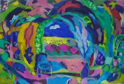'Journey to East Peckham.'Oil and acrylic on board. 91cm x 61cm2010