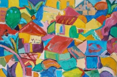 'Nicosia and Jacaranda.'<br> Oil and acrylic on board, 2005<br> 91cm x 60cm