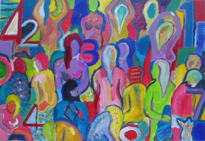 'One Among Many,' (2), 2010<br> 90cm x 60cm, Oil and Acrylic on board