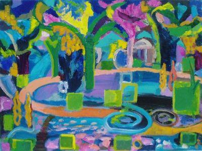'Park Walk, Night.'<br> Oil and acrylic on board, 61cm x 45cm<br> 2010