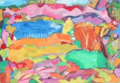 'Pink Mountains, Autumn.'Oil on board,2007