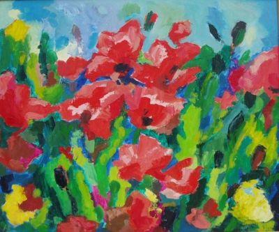 'Poppies.'<br> Oil on board<br> 61cm x51cm