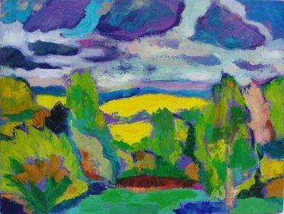 'Lemon-yellow field, Kent.'<br> Oil and acrylic on canvas, 2008<br> 40cm x 30cm