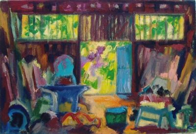 'The Carpentry Workshop.'<br> Oil on canvas