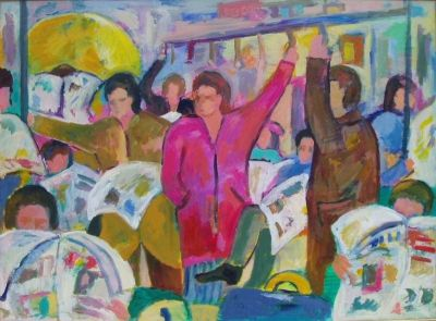'Woman in Pink Coat on the Underground.'<br>
