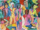 'Women and Dressing Gowns in the Baths.' Oil and acrylic on board