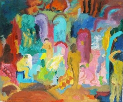 'Women and Towels in the Baths.'<br> Oil on board<br> 61cm x 51cm