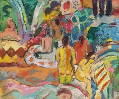 'Women and Towels in the Turkish Baths.'<br> Oil on board<br> 60cm x 45