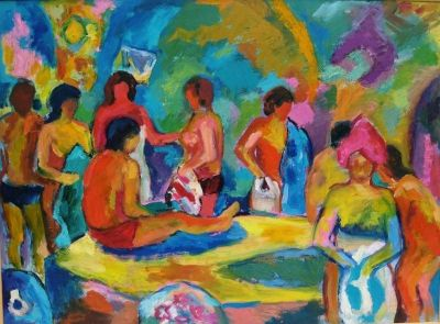 'Conversations in the Baths.'<br> Oil on board