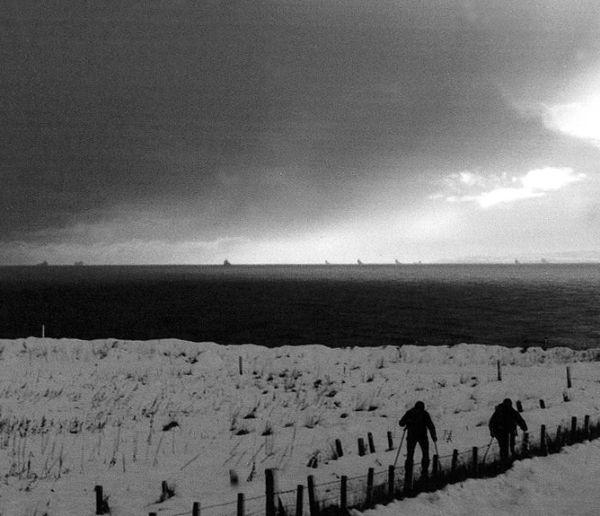 Walking in a blizzard.